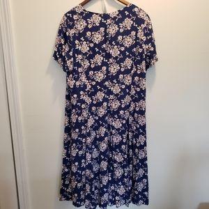 Coldwater Creek Blue Floral Print Maxi Dress Sz 18